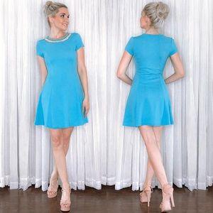 Blue Rhinestone Collar Dress